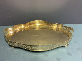 Good quality heavy EPNS oval serpentine galleried silver plated tray 62cm L