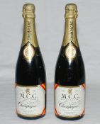 'M.C.C. Bicentenary Match. Lords Cricket Ground. August 20-25th 1987'. Two 75cl bottle of M.C.C.