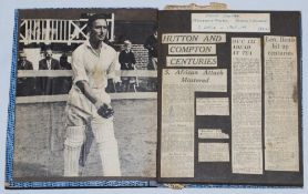 Denis Charles Scott Compton. Middlesex & England 1936-1958. Two scrapbooks comprising press cuttings