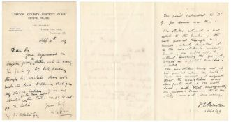 W.G. Grace. Single page handwritten letter in ink from Grace to J.C. Robertson, dated 10th September