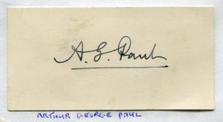 Arthur George Paul. Lancashire 1889-1900. Excellent ink signature of Paul on small card laid down to