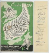 New Zealand tour to England 1949. Narrow paper strip nicely signed in ink by sixteen members of
