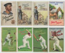'Players Please'. Cricket Fixtures 1929-1939. Fixture booklets with colourful attractive wrappers