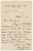 W.G. Grace. Single page handwritten letter in ink from Grace to 'Mr. Harris', dated 21st September