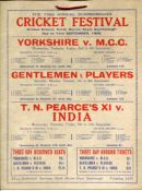 'The Annual Scarborough Cricket Festival'. Four official large hanging cricket fixture cards for the