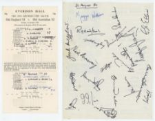 'The 1950's Reunion Test Match. Old England XI v Old Australian XI' 1980. Sheet comprising twenty