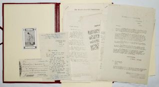 The Society of Cricket Statisticians. A selection of over thirty typed and handwritten documents