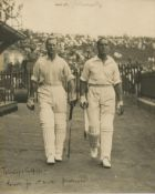 Herbert Sutcliffe and Ernest Tyldesley. Record partnership 1927/28. M.C.C. tour to South Africa
