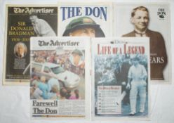 Don Bradman 1908-2001. Five original Australian and three English newspapers featuring extensive