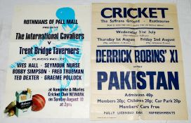 Cricket posters. Official posters for 'The International Cavaliers v Trent Bridge Taverners'