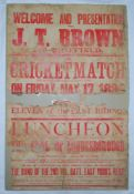 John Thomas Brown. Yorkshire & England 1889-1904. Large original poster announcing a cricket match