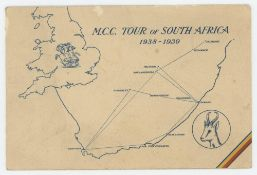 M.C.C. tour of South Africa 1938/39. Official M.C.C. Christmas card with map to front and photograph