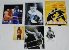 Boxing photographs. Three signed colour and mono action photographs of Audley Harrison, Ken Buchanan