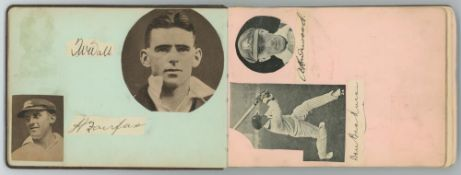Australia tour to England 1930. Autograph album dated 1933 including ten signatures in ink of the