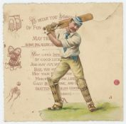 Attractive Victorian Christmas card featuring a cutout figure of a batsman in colour to the front,