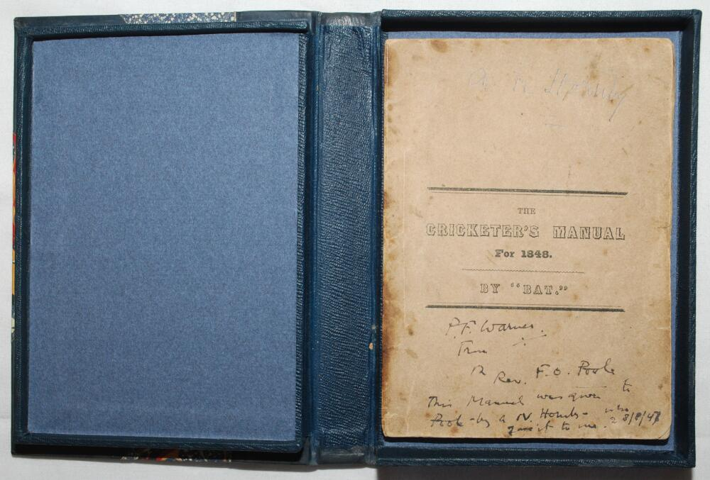 'The Cricketer's Manual for 1848 containing a brief review of the rise and progress of the manly and
