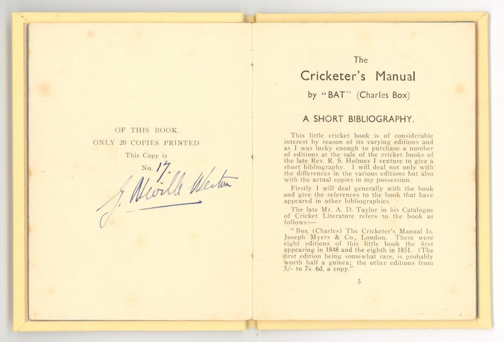 """'The Cricketer's Manual by """"Bat"""" (Charles Box). A Short Bibliography'. G. Neville Weston. 1936. - Image 2 of 2"""