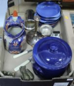 A box containing a collection of ceramics and metalware, to include an ironstone water jug, brass