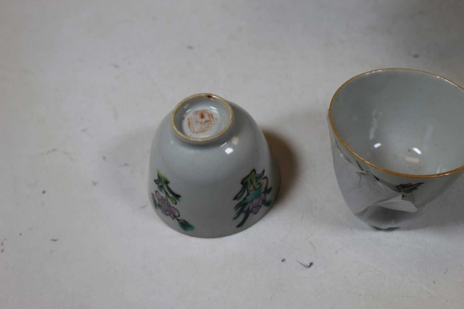 A Chinese teapot, enamel decorated with birds and butterflies amidst foliage; together with two - Image 5 of 6
