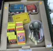 A box of miscellaneous items, to include loose silver plated flatware, Rooibostee Eleven o'clock