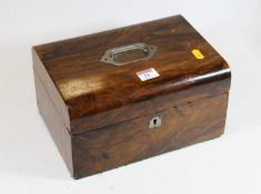 A Victorian walnut dome topped box, with blue velvet lined interior, w.28cm