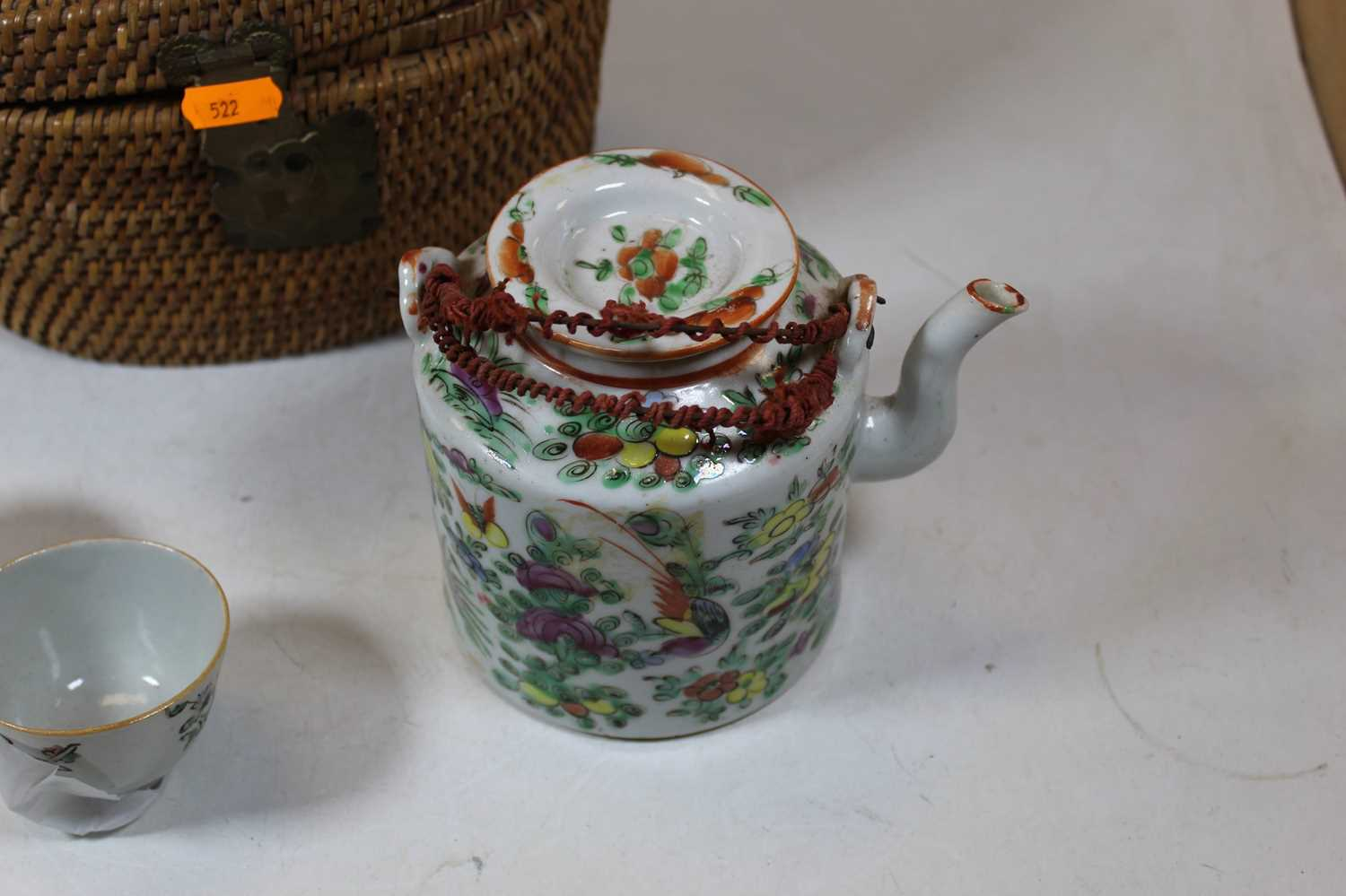 A Chinese teapot, enamel decorated with birds and butterflies amidst foliage; together with two - Image 2 of 6