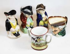 A collection of ceramics, to include a Royal Doulton character jug, a Staffordshire pottery loving
