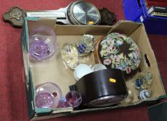 A box of miscellaneous items, to include oak cased aneroid barometer, bakelite cased mantel clock,