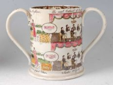 A 19th century Staffordshire loving cup, transfer printed and painted with Masonic verse 'Everyone