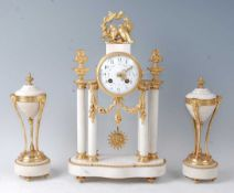 A mid-19th century French white marble and gilt brass portico clock garniture, having unsigned