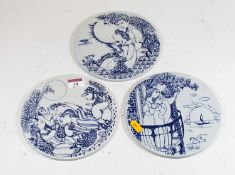 A set of three 20th century Danish porcelain roundels, by Bjorn Winblad Nymolle, each depicting