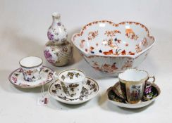 A collection of various ceramics, to include a 19th century French porcelain double-gourd vase