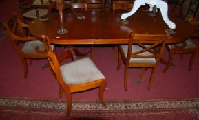 A reproduction yew wood dining suite, comprising; D-end pedestal dining table with single extra
