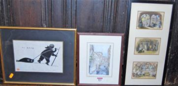 Assorted pictures and prints, to include river landscape watercolour (5)