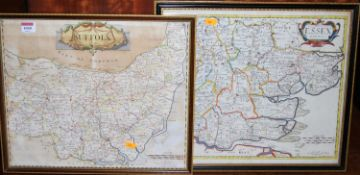 Robert Morden - an 18th century engraved county map of Suffolk, being later hand-coloured, 35 x