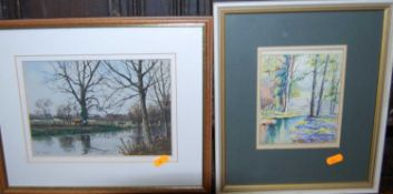 Assorted pictures and prints, to include Paul Franks - Cattle beside the river, watercolour; Still
