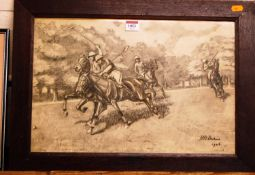 Early 20th century English school - The Polo match, charcoal, indistinctly signed and dated 1926