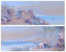 Charles Rowbotham (1826-1904) - Pair; Italian coastal scenes, watercolour and gouache on buff paper,