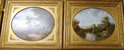 K Adams - Pair; River and Landscape scenes, oil on panels, each framed as ovals, 40 x 50cm