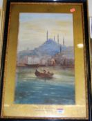 R.E. Hasman - Mosque of Suleiman, Constantinople, watercolour, signed and dated '98 lower right,
