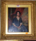 Mid-19th century school - Three-quarter length portrait of a seated woman wearing a black dress with