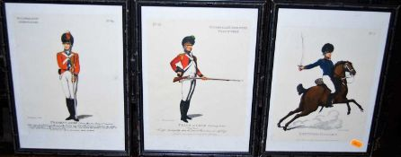 A set of three Rowlandson military prints, a panoramic engraving of Venice etc