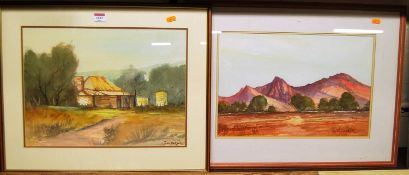 John Barber - Blue Mountains, Australia, watercolour, signed lower right, 32 x 44cm; and one other
