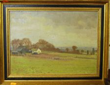 Norden - Landscape with farm buildings, oil on canvas, signed lower right, 30 x 40cm