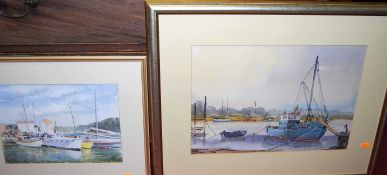 Frederick Brown - Boats at anchor, watercolour, 32 x 45cm; and three other boating watercolours by