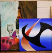 Spate Huntermann (George Robert Hunt 1934-2014) - Blue abstraction, acrylic, signed lower right,