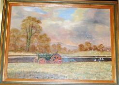 Kennett Cards - Seagulls following the plough, oil on canvas, 41 x 57cm