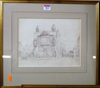 H.W. - Castles shipbreakers, Baltic Wharf, London, pencil drawing, signed with monogram lower right,
