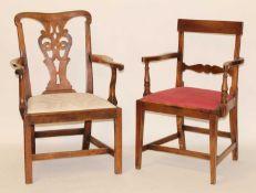 A George III fruitwood elbow chair, having pierced vase splatback, drop-in seat, and on ogee