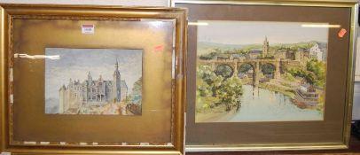 Jane Pearson - Knaresborough, ink and watercolour, 28 x 36cm; and circa 1900 school - French